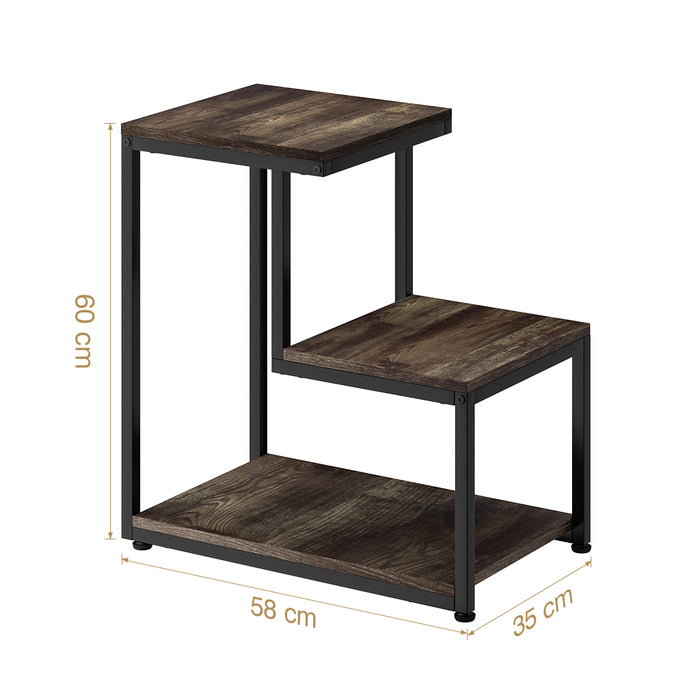 3-Tier Side Table, 2 Surfaces Arranged in Steps for Sofa/Bed