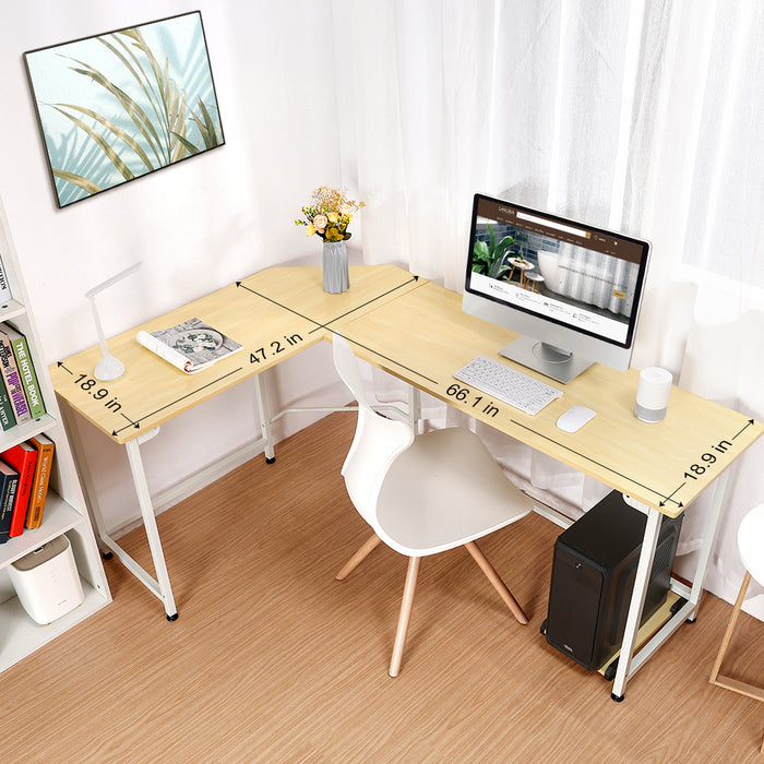 L-Shaped Corner Computer Desk, Multi-function PC Laptop Study Working Table