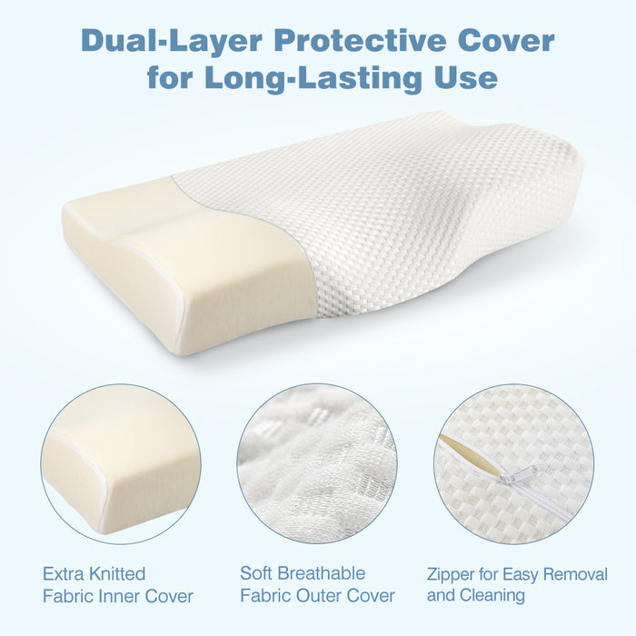 High-Density Memory Foam Bed Pillow, CertiPUR-US Therapeutic Cervical Neck Pillow
