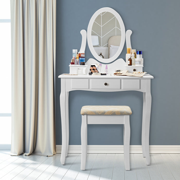 Makeup Dressing Table Vanity and Stool Set with Adjustable Swivel Oval Mirror