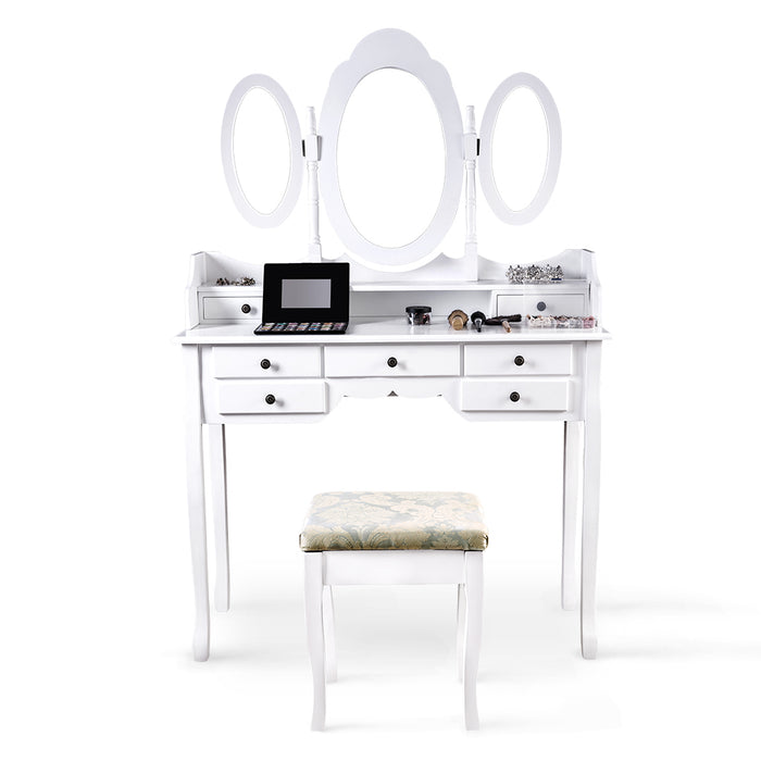 Makeup Dressing Table Vanity and Stool Set with 3 Adjustable Oval Mirrors