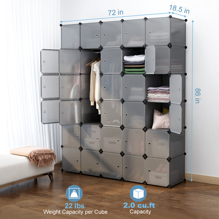 30-Cube Storage Organizer Large Gray DIY Stackable Easy Assemble Plastic Steel Frame