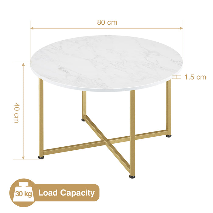 Gold & Marble Round Coffee Cocktail Accent Table