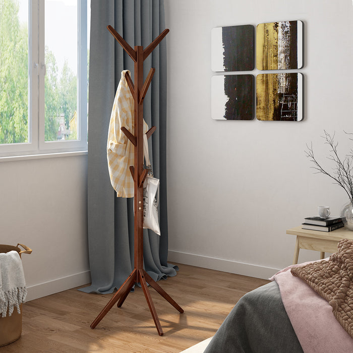 Bamboo Tree Coat Rack Free Standing Hat Hanger with 4 Tiers Hooks and Solid Feet