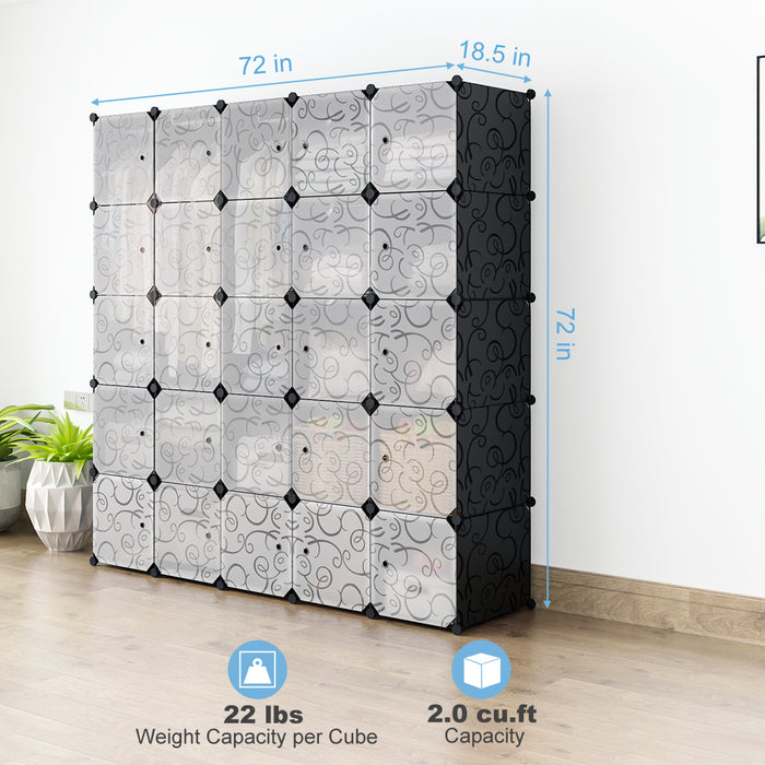 LANGRIA 25-Cube Storage Organizer Large Black DIY Stackable