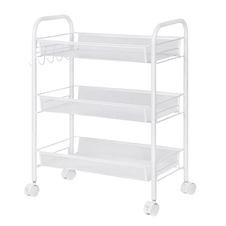 3-Tier Wire Mesh Rolling Cart for Serving Utility Organization