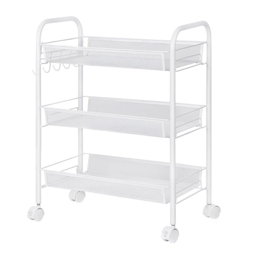 LANGRIA 3-Tier All Purpose Rolling Cart, White