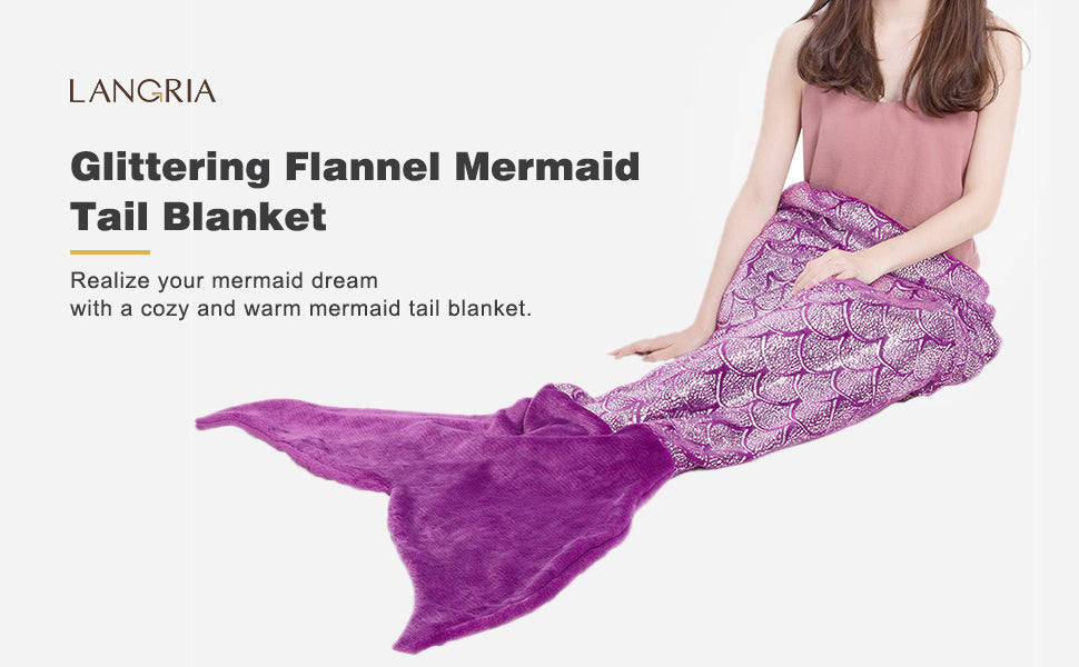 LANGRIA LANGRIA Mermaid Tail Blanket for Adults and Children Soft Warm All Season Snuggle Sleeping Life-Like Little Mermaid Glittering Flannel Throw Blanket for Bed Sofa Couch