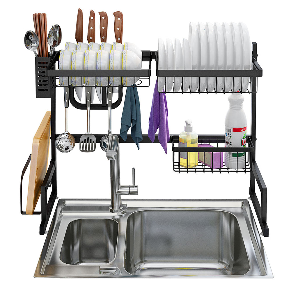 Dish Drying Rack Over Sink Stainless Steel Drainer Shelf, 25.6 Inches Width (Black)
