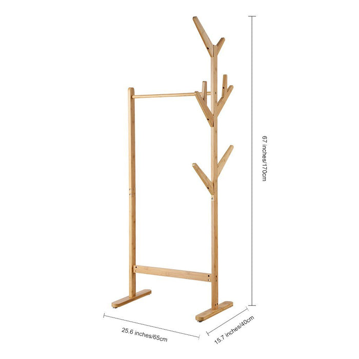 LANGRIA LANGRIA Single Rail Bamboo Garment Rack with 8 Side Hook Tree Stand Coat Hanger and Four Stable Leveling Feet for Jacket, Umbrella, Clothes, Hats, Scarf, and Handbags (Natural Wood Finish)