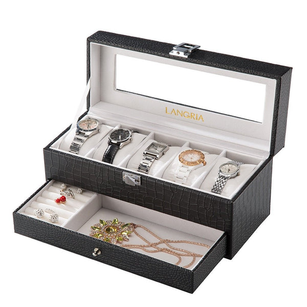 LANGRIA 5-Slot Faux Crocodile Leather Watch Box, Black