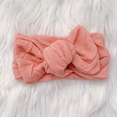 VINTAGE PINK RUFFLE KNOT BOW