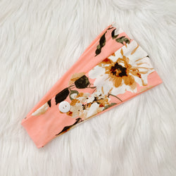 PEACHY FLORAL MULTI-WAY HEADBAND