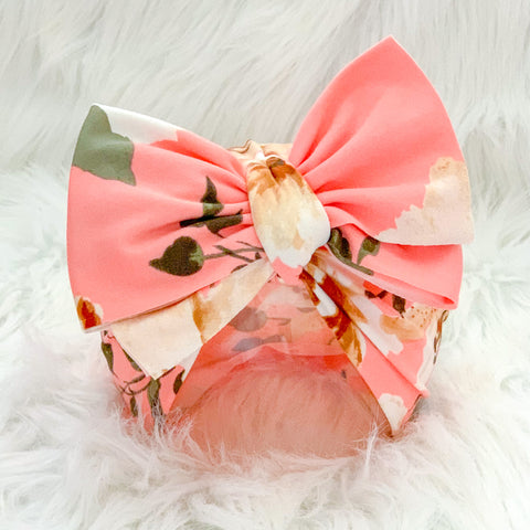 PEACHY FLORAL BIG BOW