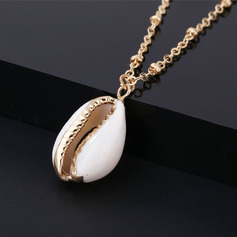White Gold Cowrie Necklace