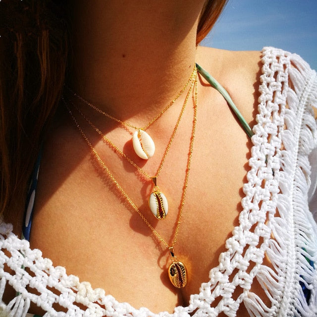 Bohemian Cowrie Shell Necklace Set