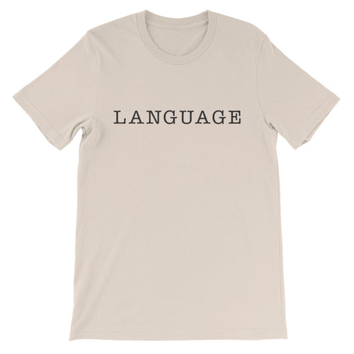 Language Black Font Short Sleeve T-Shirt (unisex)