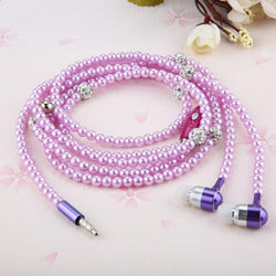 RHINESTONE PEARL NECKLACE EARPHONES WITH MIC