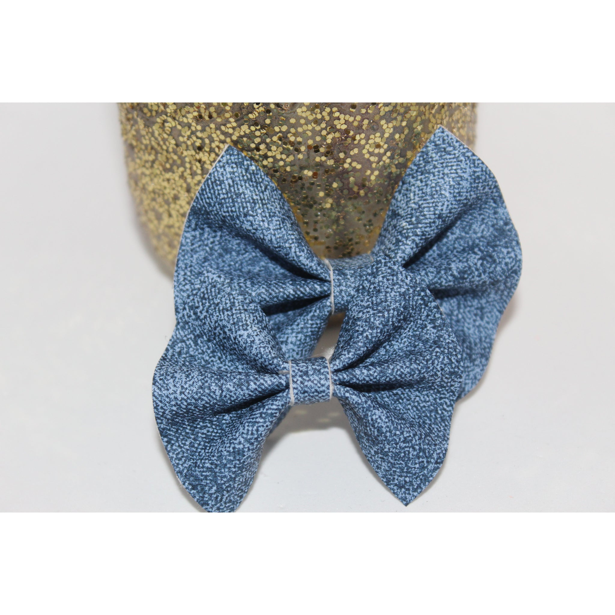 Faux Leatherette Bow {Denim} - Available in 2 styles!