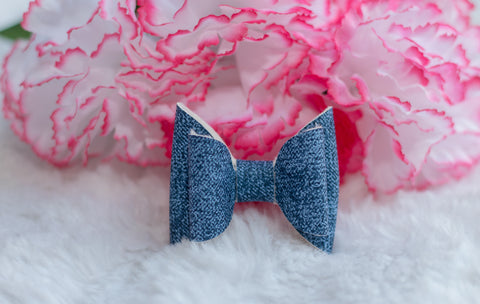 *LIMITED EDITION* Denim Double Bow {Alligator Clip}