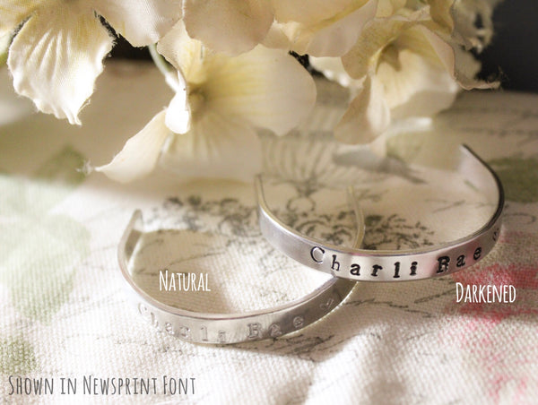 Personalized Hand Stamped Cuff Bracelet {Mommy & Me Set}