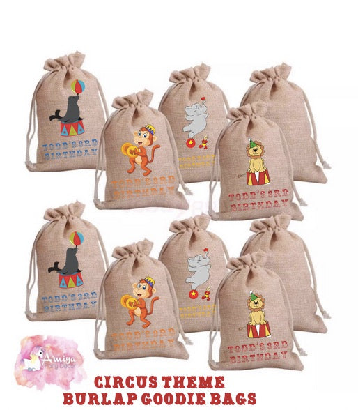 Circus Theme - Personalized Burlap Goodie Bags