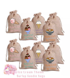 Ice Cream Theme - Personalized Burlap Goodie Bags