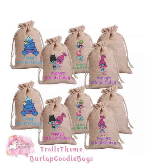 Trolls Theme - Personalized Burlap Goodie Bags