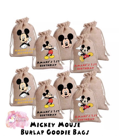 Mickey Mouse Theme - Personalized Burlap Goodie Bags
