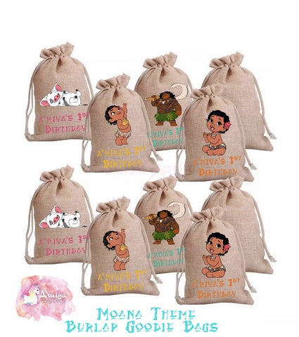 Moana Theme - Personalized Burlap Goodie Bags