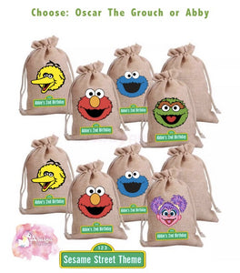 Sesame Street Theme - Personalized Burlap Goodie Bags