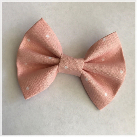 ONLY 1 LEFT! Dusty Pink Dots Bow {Alligator Clip or Nylon Headband}