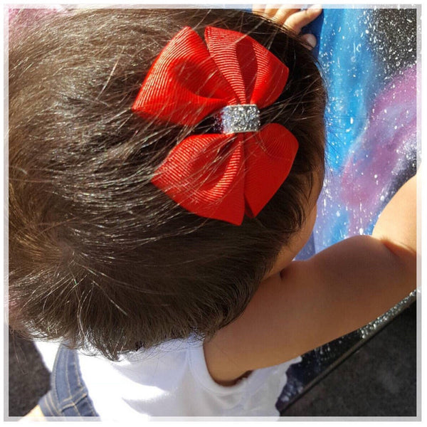 Glitter Pinwheel Bow {Alligator Clip or Nylon Headband}