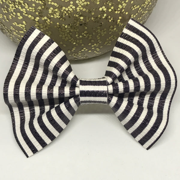 LAST ONE! 50% OFF Faux Leather Bow {Black & White Striped} - itty bitty Nude Nylon Headband!