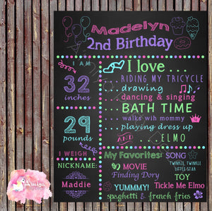 Digital Color Fun Birthday Chalkboard