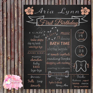 Digital Peach & Silver Floral Birthday Chalkboard