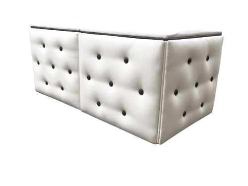 White and Black Button Double Bench Rental Ottoman | Seats 2