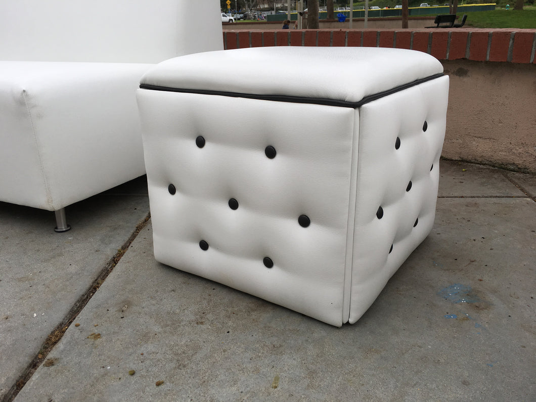 White and Black Button Single Rental Ottoman | Seats 1