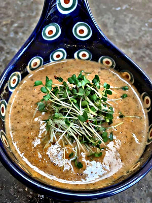 Broccoli Microgreens with Hungarian Mushroom Soup