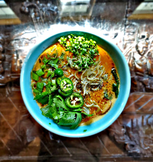 Thai Peanut Ramen Noodle Soup with Clover Microgreens