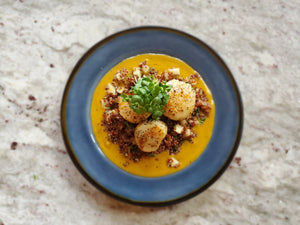 Seared Scallops with Apple Quinoa Salad & Butternut Squash Puree
