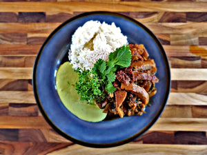 Vegan Peruvian Saltado with Peruvian Green Sauce