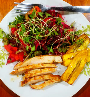 Tropical Chicken Salad & Fried Plantains