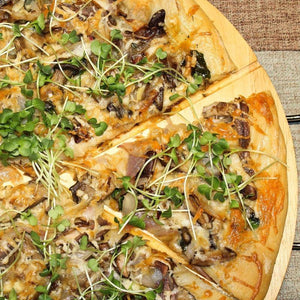 Olive Oil & Garlic Based Mushroom, Shallot & Radish Microgreen Pizza