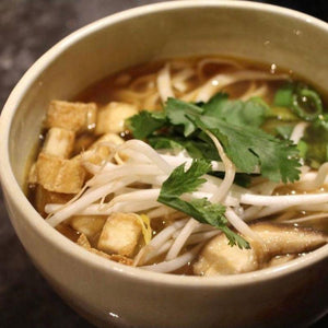Vegan Pho Soup with Crispy Tofu & Green Onions
