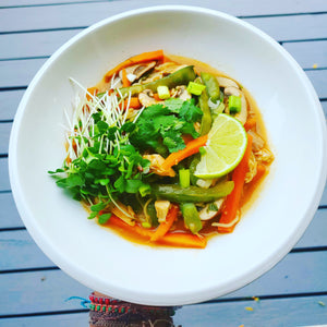 Spicy Asian Chicken & Rice Noodle Soup