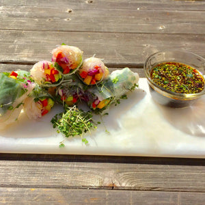 Minty Spring Rolls With Microgreens and Rice Noodles