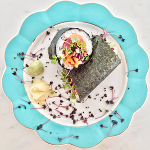 Sushi Burrito With Spicy Daikon Radish and Super Salad Mix Microgreens