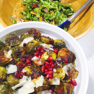 Roasted Brussels Sprouts with Bacon & Pomegranate