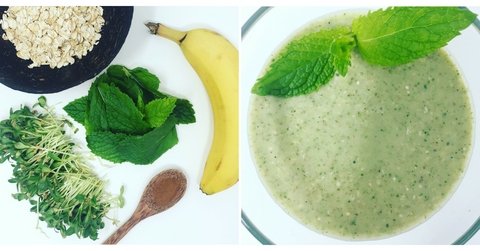 Ingredients of a fenugreek microgreens breakfast smoothie.  Includes banana, fenugreek microgreens, mint, and oats.